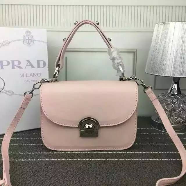 b6c6d48730 2016 Cheap Prada Arcade Calf Leather Shoulder Bag Pink with leather handle