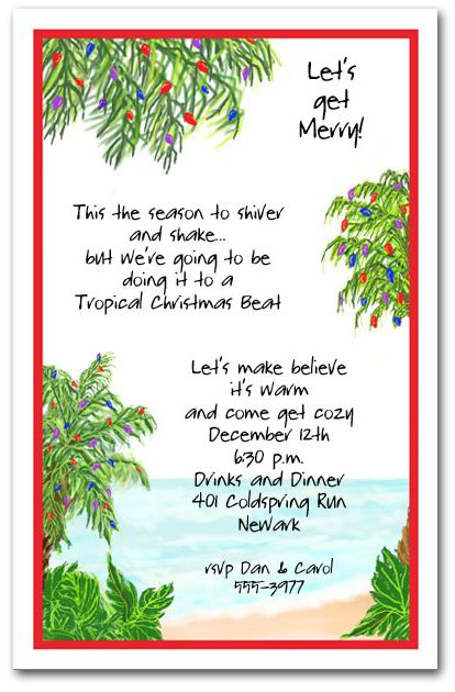 Tropical Holiday Beach Party Invitations