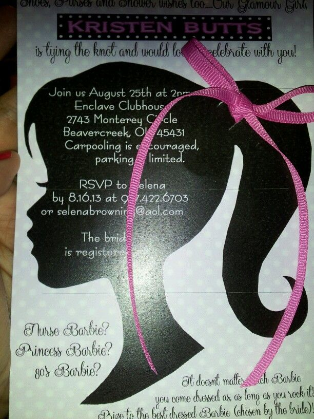 barbie bridal shower invite my college roomie would have flipped