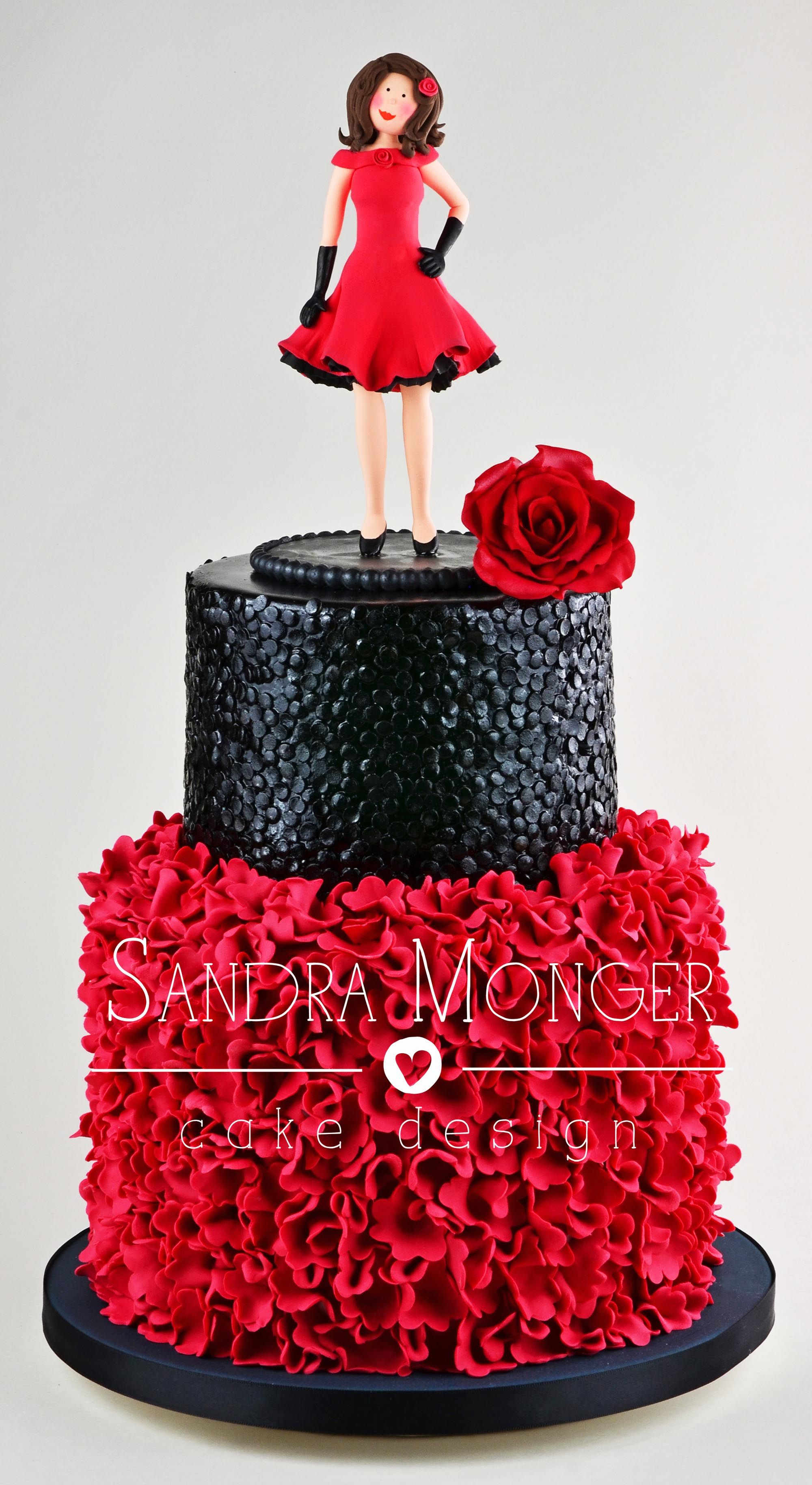 The Lady In Red Birthday Cake With Ruffles And Black Sugar Sequins