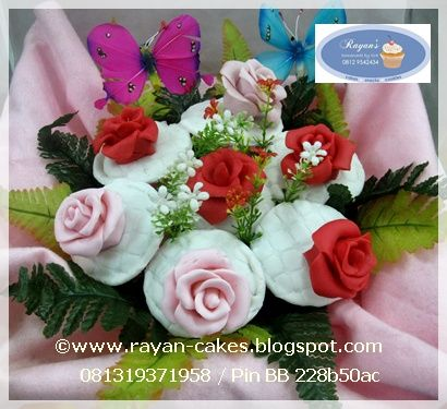 Roses Bouquet Cupcakes set fondant by Rayan Cakes
