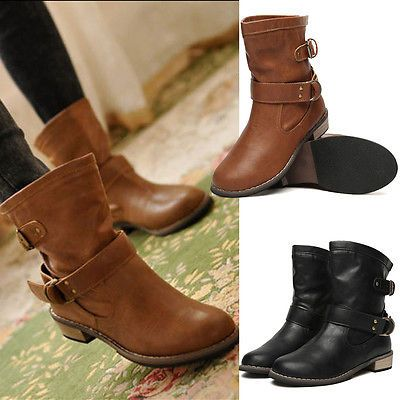 New Womens Ladies Flat Ankle Boots Casual Buckle Low Heel Shoes Martin Boots