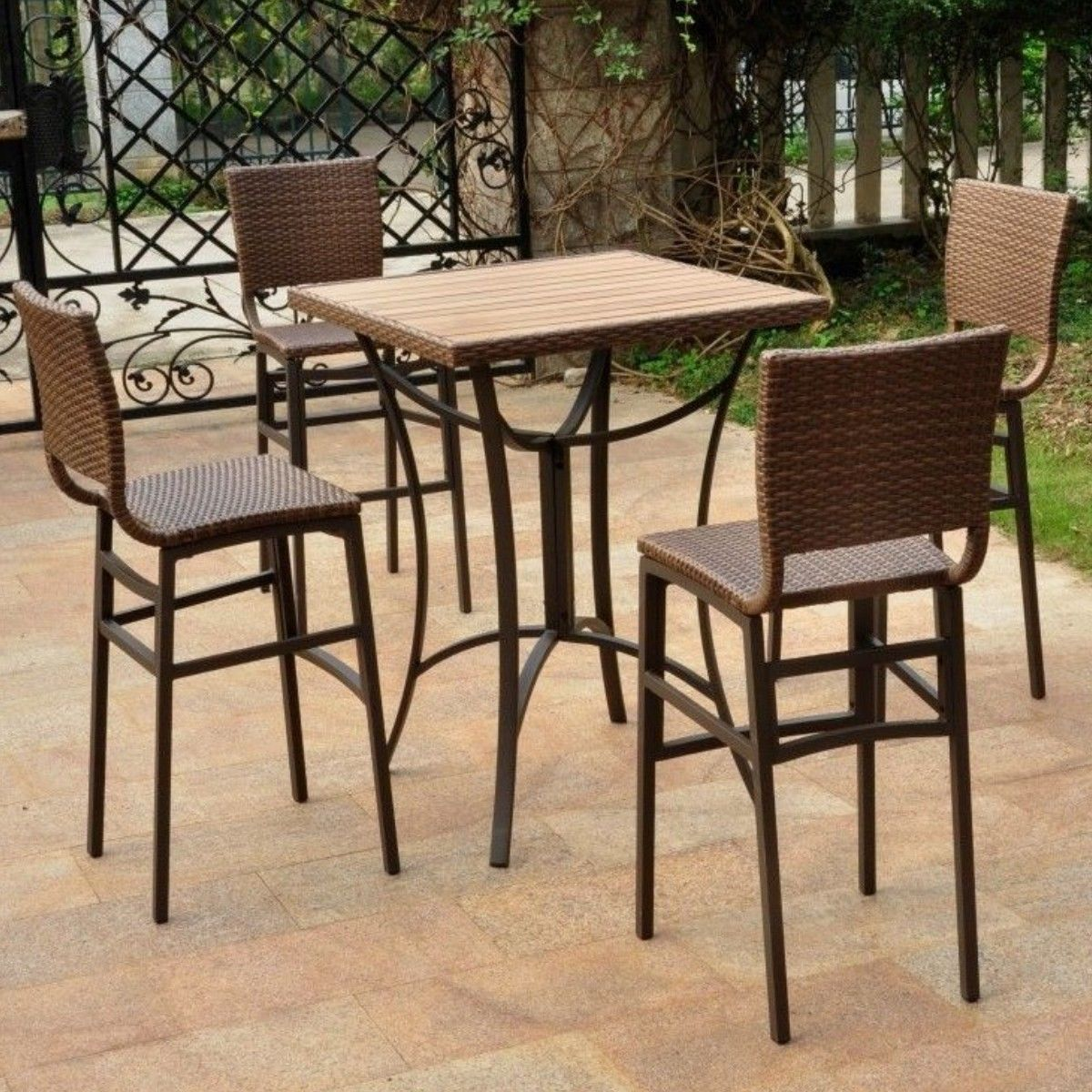 bar height bistro dining set wood table 4 chairs resin wicker 5