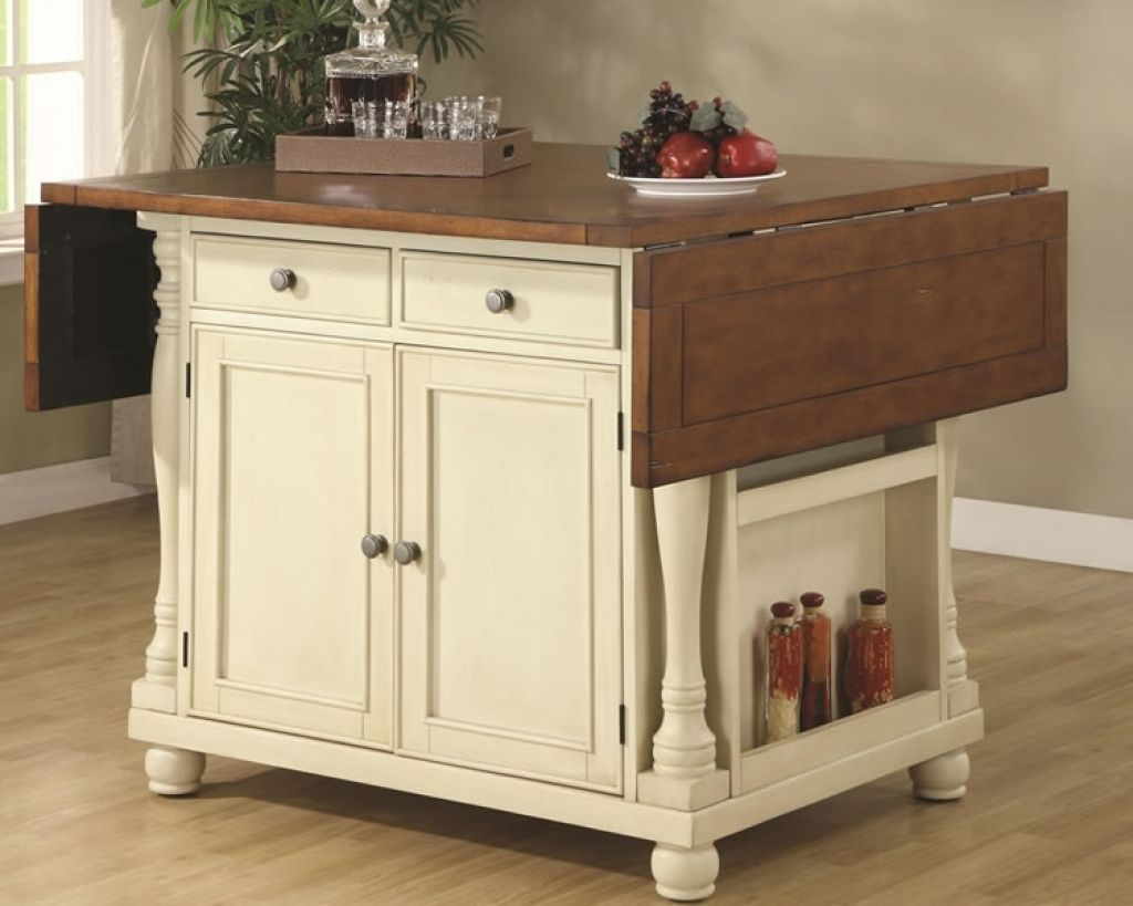 White Portable Kitchen Island With Drop Leaf