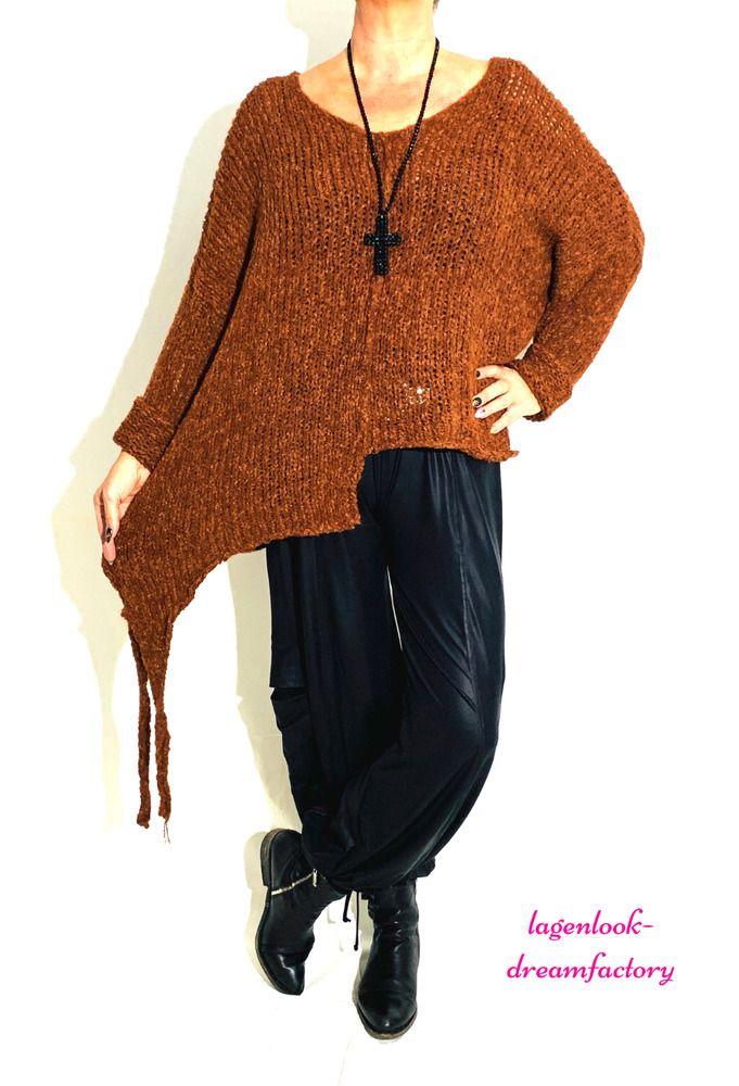 Lagenlook Strick-Jacke Tunika Shirt weiß L-XL-XXL-XXXL 44 46 48 50 52 54 56 58