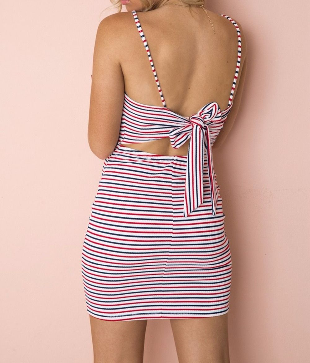 2ad0323692 Strap Summer Dress Women Sexy Striped Backless Bow | F A S H I O N ...