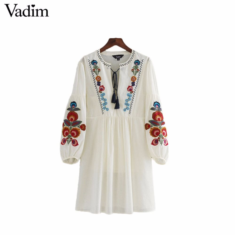 112cac86f7b9e Vadim women vintage floral embroidery dress two pieces set bow tie ...