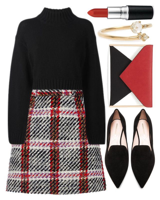 """Untitled #643"" by ssm1562 ❤ liked on Polyvore featuring Carven, DKNY, Nicholas Kirkwood, Red Herring, MAC Cosmetics and WWAKE"