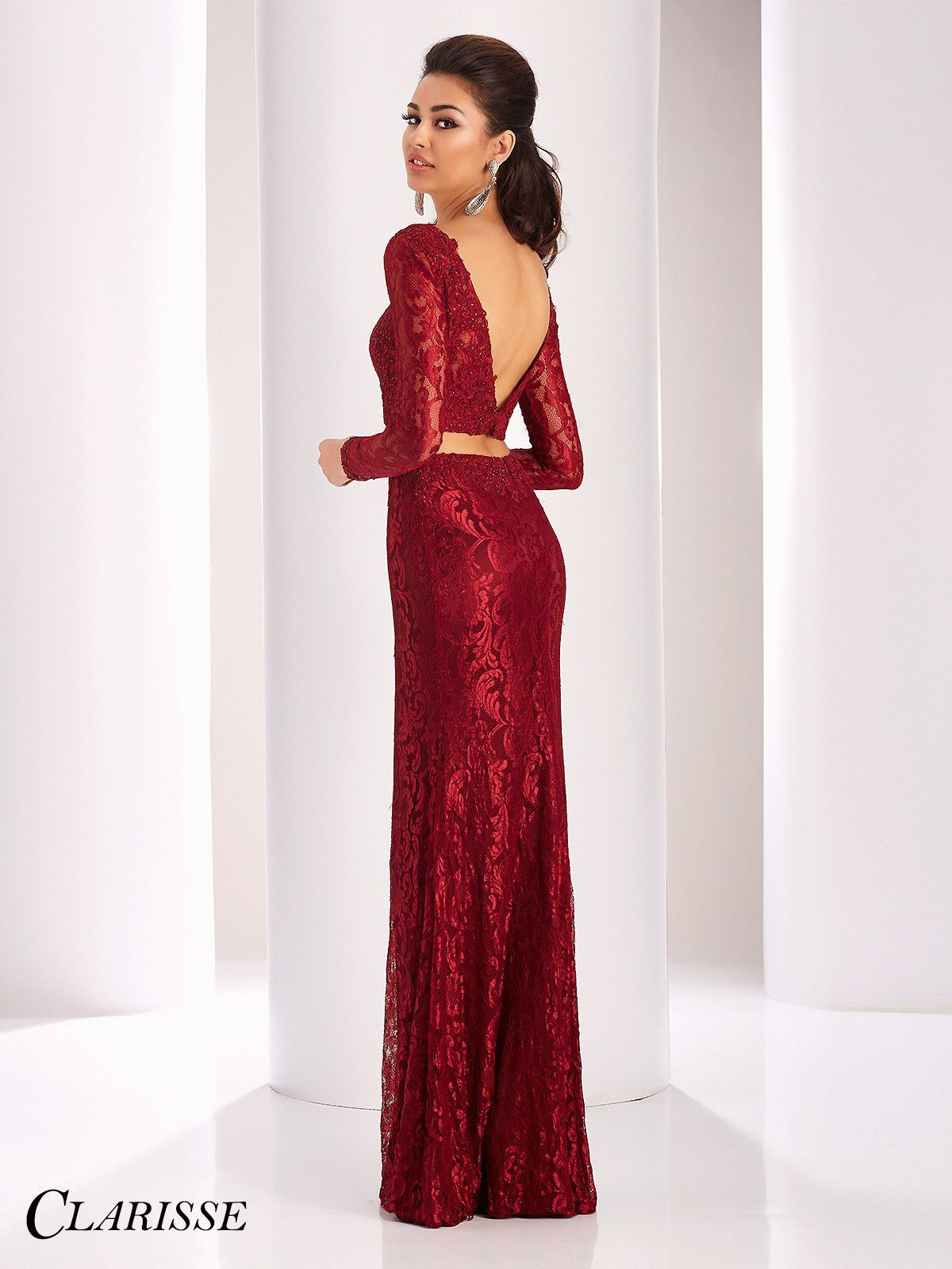 Clarisse Prom 3128 Ruby Long Sleeved Prom Dress