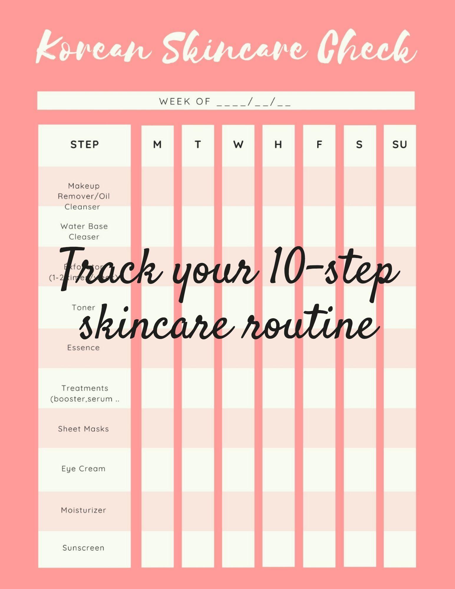 Never feel overwhelmed in front of all your products again. #skincare #routine #skincaretracker #koreanskincare #planner #printables