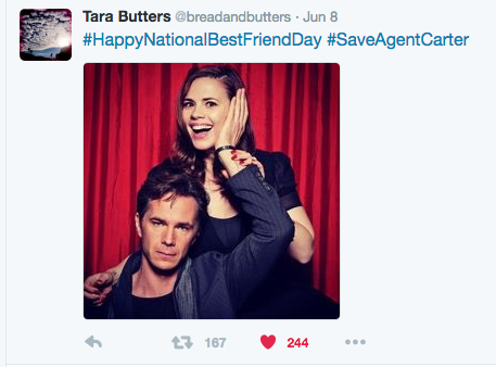 Co-ShowRunner TaraButters Wishes us a Happy National Best Friends Day #SaveAgentCarter