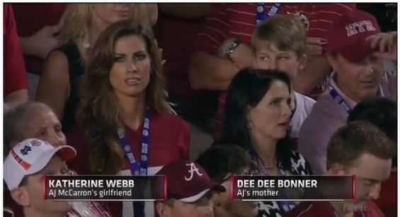 What should have been a compliment about a beautiful women by a sportscaster goes viral and becomes a new career for someone sitting in the stands watching her boyfriend play football. With text and twitter who knew this man's comments would become such an issue within seconds after it was said.  I am sure Katherine Webb had no idea what was happening.