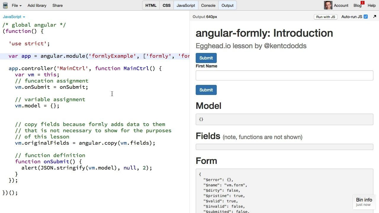 Introduction to angular-formly - AngularJS Video Tutorial