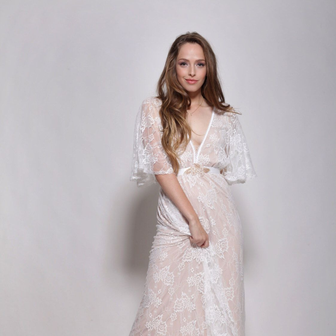 Bohemain lace wedding dresslow back lace train dressmixed lace