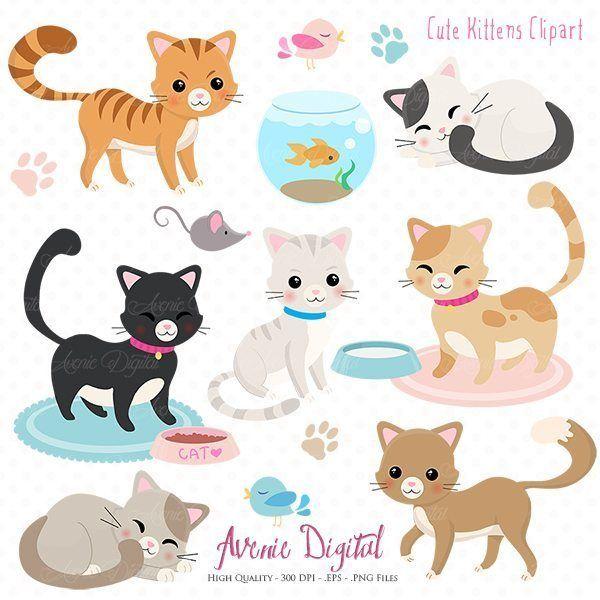 Cute Kittens Clipart Vectors Cat Clipart Cute Doodles Kittens Cutest