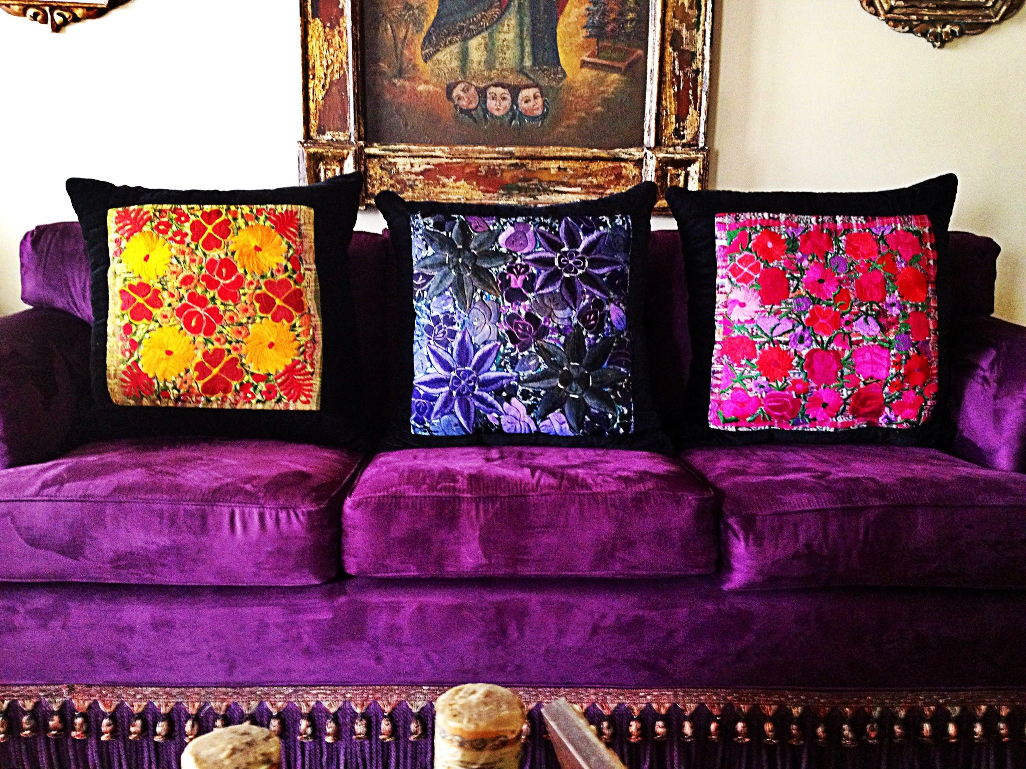 Mexican cushions, purple sofa. Brighter purple than yours but ...