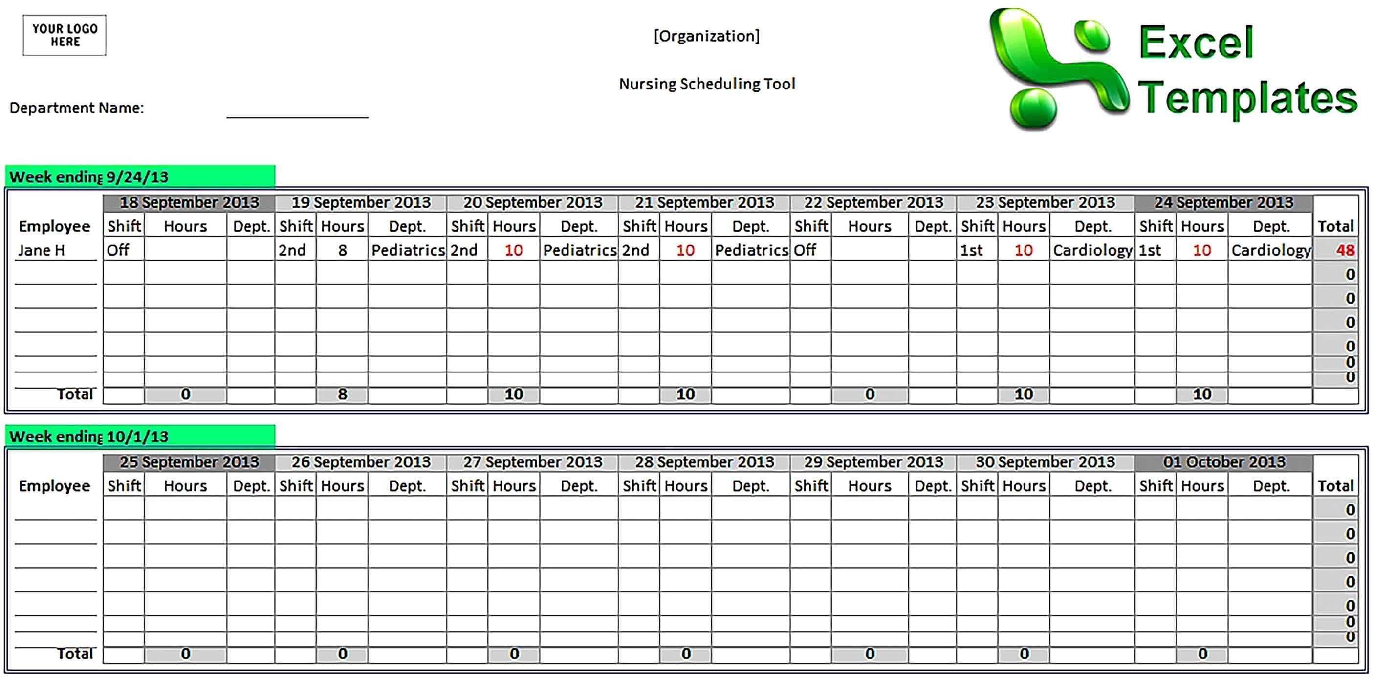 Nurse Schedule Template Sample Nurse Schedule Schedule Template Hospital Nurse