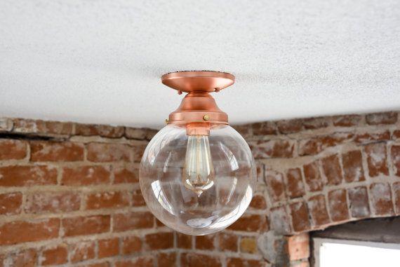 Semi Flush Ceiling Light Raw Copper Mid Century Modern