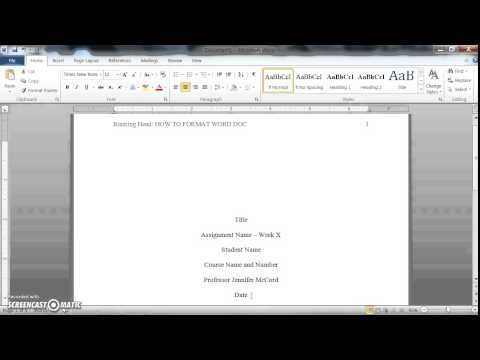 apa format for word