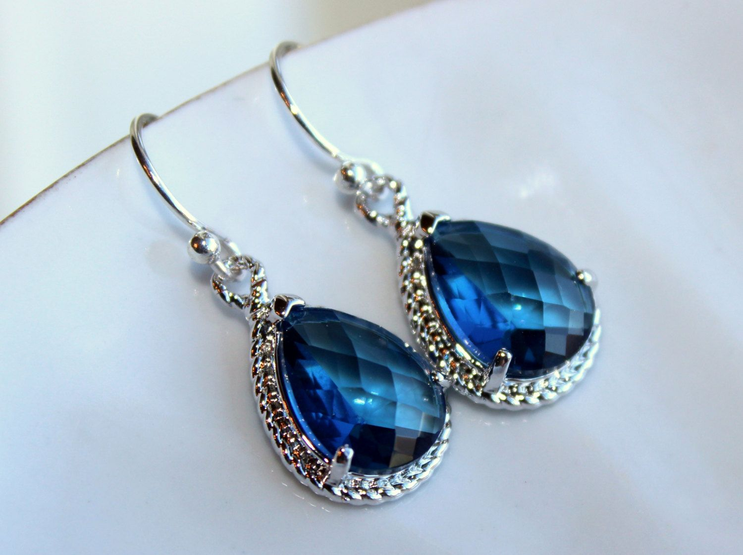 Sapphire Earrings Navy Blue Teardrop Silver Jewelry  by laalee, $30.00