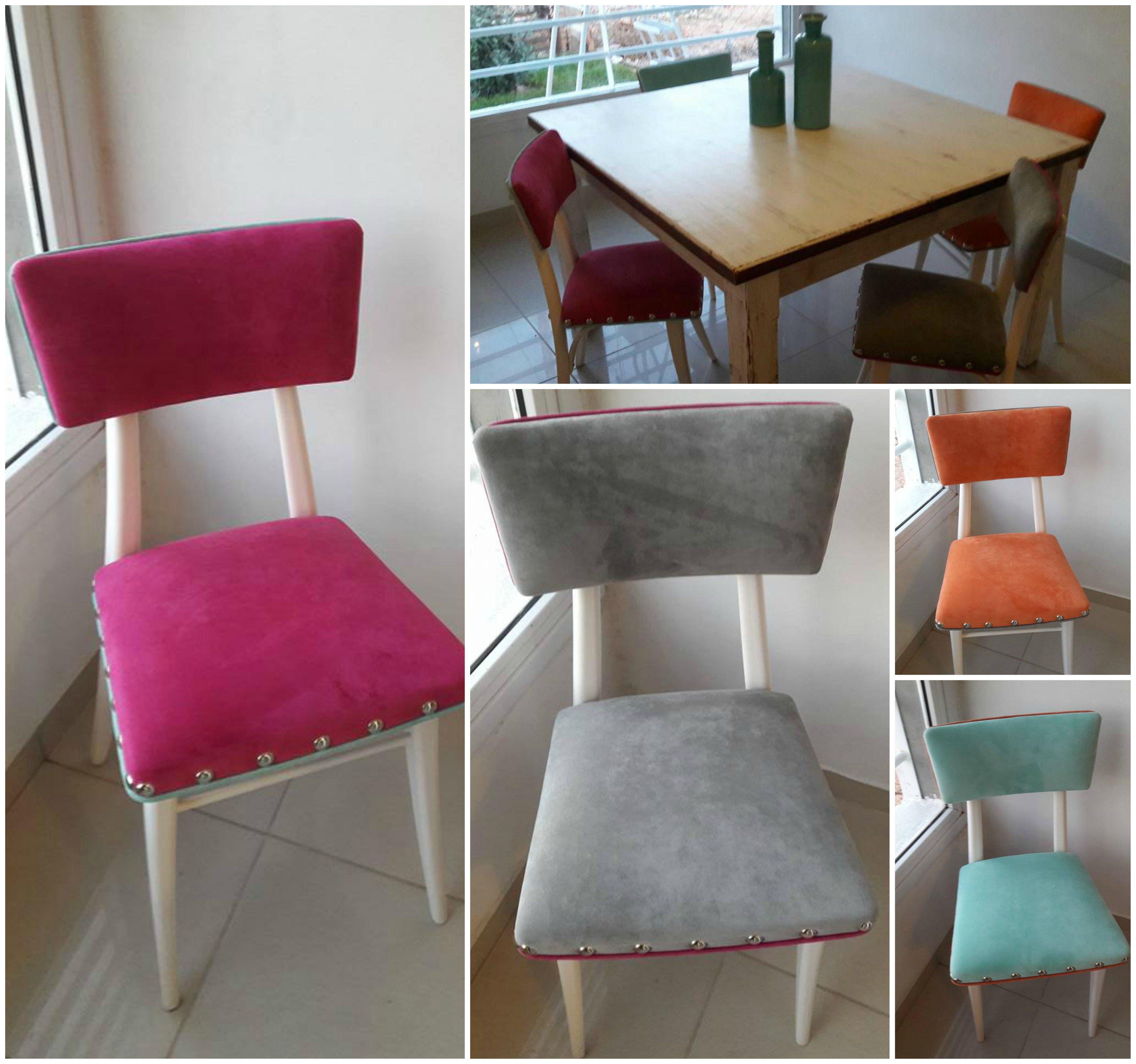 sillas estilo retro americanas restauradas y tapizadas con pana en