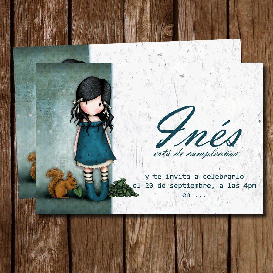 Kit imprimible tarjeta de invitacion mu ecas gorjuss ni a - Ideas cumpleanos nina 7 anos ...