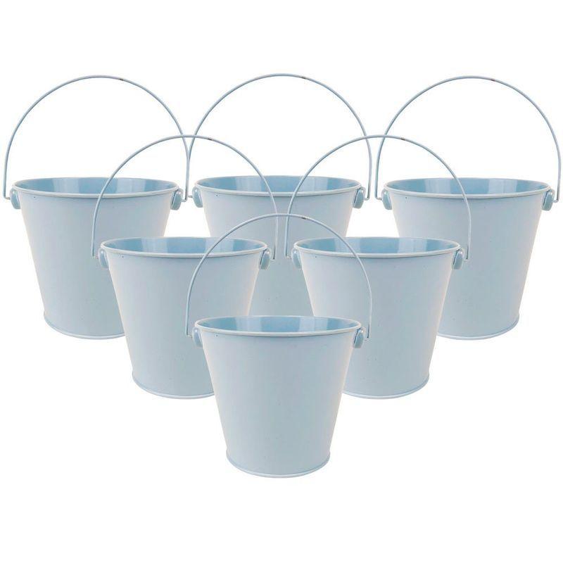6 Piece Metal Party Favor Bucket Decoration Kits Light Blue In 2020 Party Favors Bucket Favor Buckets Craft Supplies