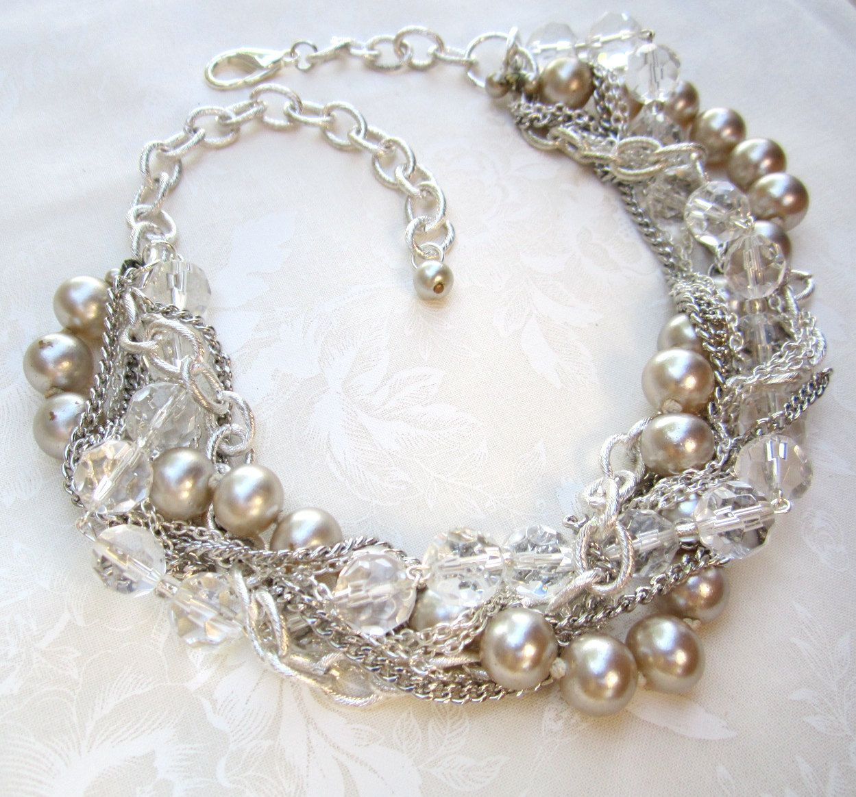Chunky Wedding Necklace Silver Crystal Pearl Bridal Statement