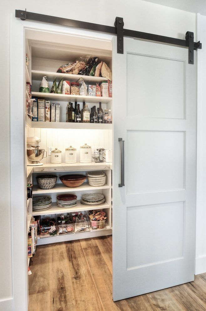Sliding Doors To Butlers Pantry Kitchen Transitional With Rustic Wood Flooring Rustic Barn Door Hardware Pantry Design Pantry Decor Kitchen Pantry Design