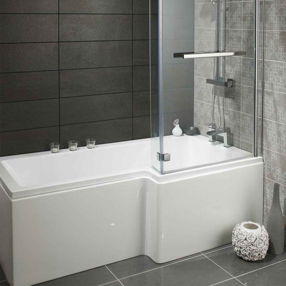 lily heavy duty lshaped shower bath with glass screen