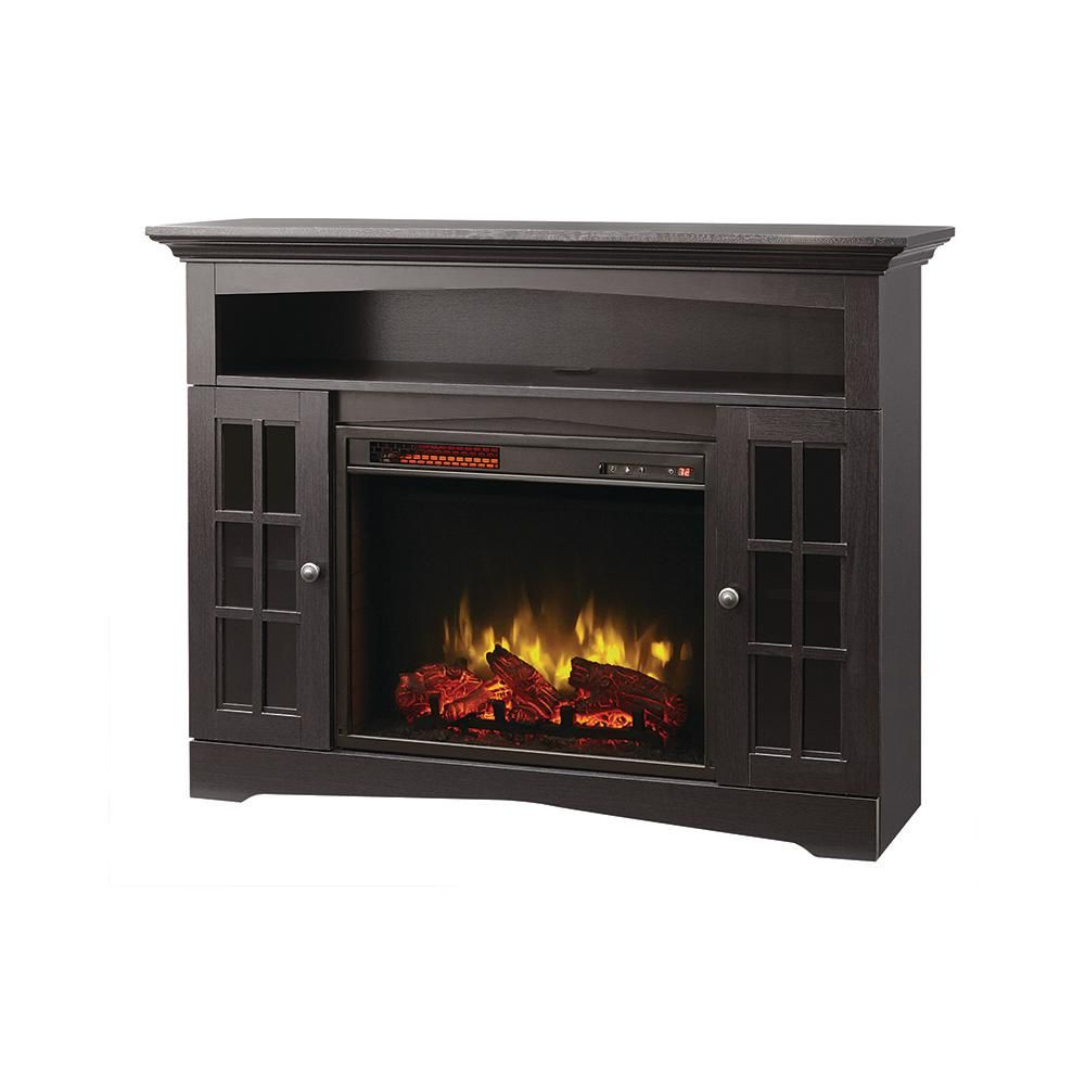 Home Decorators Collection Avondale Grove 48 In Tv Stand Infrared Electric Fireplace In Aged Black 258 102 170 Y The Home Depot Fireplace Electric Fireplace Home Decorators Collection
