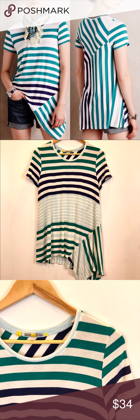 e800e6f8408 Anthro | Little Yellow Button Asymmetrical Top Little Yellow Button striped  tunic. Blue, green