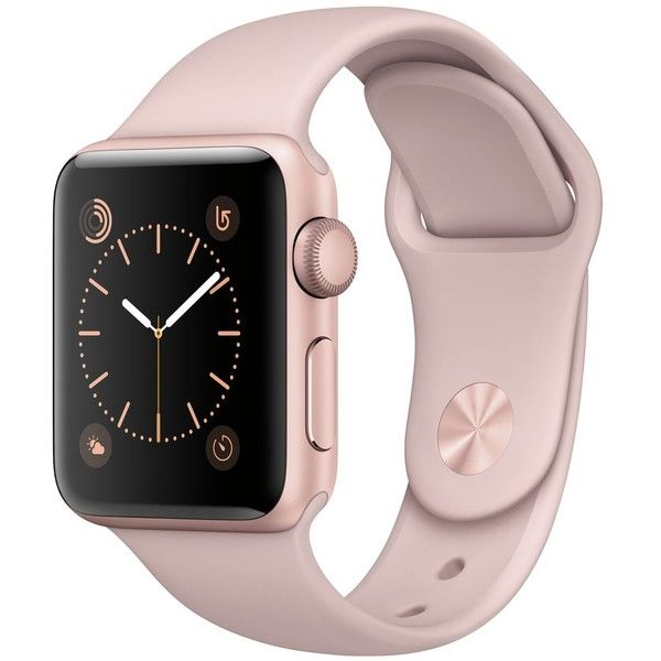 Apple Watch Series 2 38mm Rose Gold-Tone Aluminum Case with Pink Sand... (€350) ❤ liked on Polyvore featuring jewelry, watches, rose gold, rose gold tone watches, sport watches, heart shaped jewelry, heart shaped watches and stainless steel watches