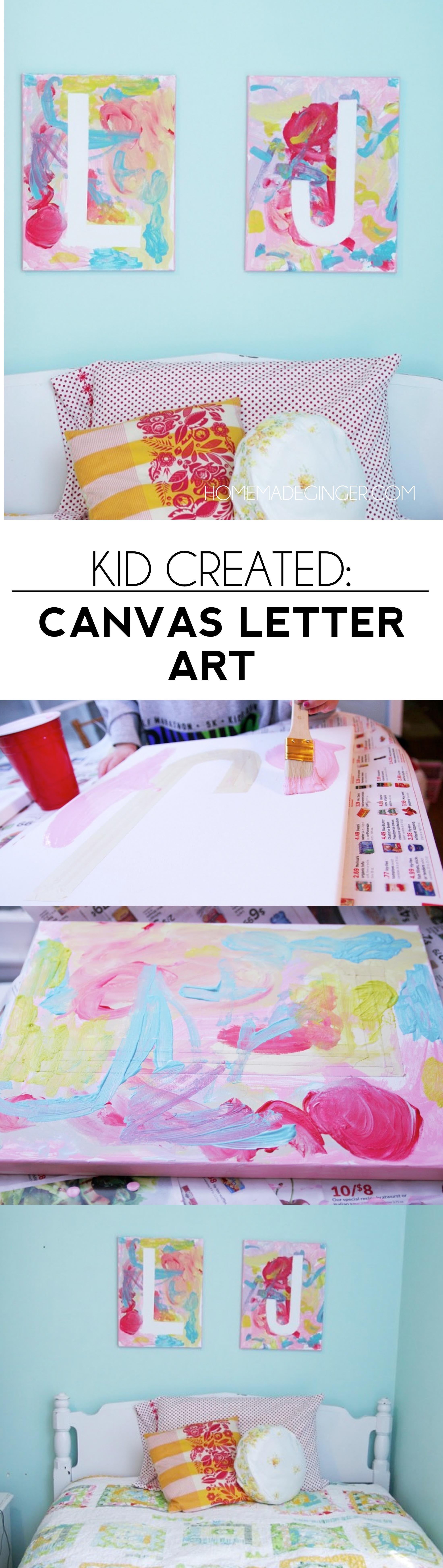 art project kid created canvas letter art diy ideas pinterest