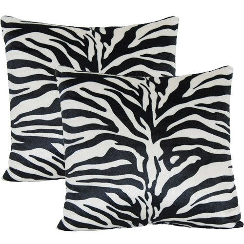 Walmart zebra print decorative pillow set of 2 zebra for Zebra room decor walmart