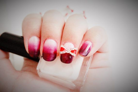 2 Pcs Of Red Bow Nail Charms 3d Nail Art Red Bow By Glamourfavor
