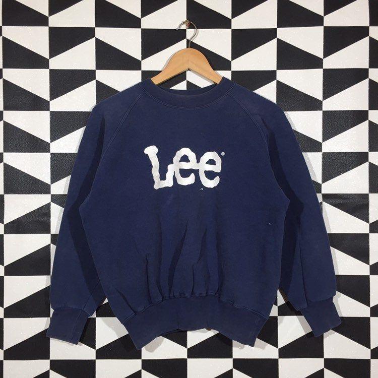 Vintage 90\u2019s LEE SPORTWEAR Made in USA Sweatshirt Printed Spell Out Big Logo Crew Neck Sweatshirt Size Large
