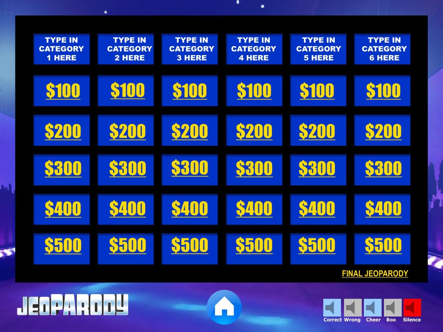 Fully editable Jeopardy Powerpoint Template game with