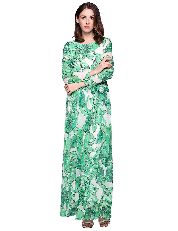Maxi dress long sleeve casual bohemian floral print belted chiffon