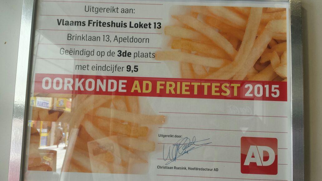 Oorkonde voor het derde beste frietje van Nederland @ Vlaams Friethuis Loket 13 Apeldoorn Gelderland