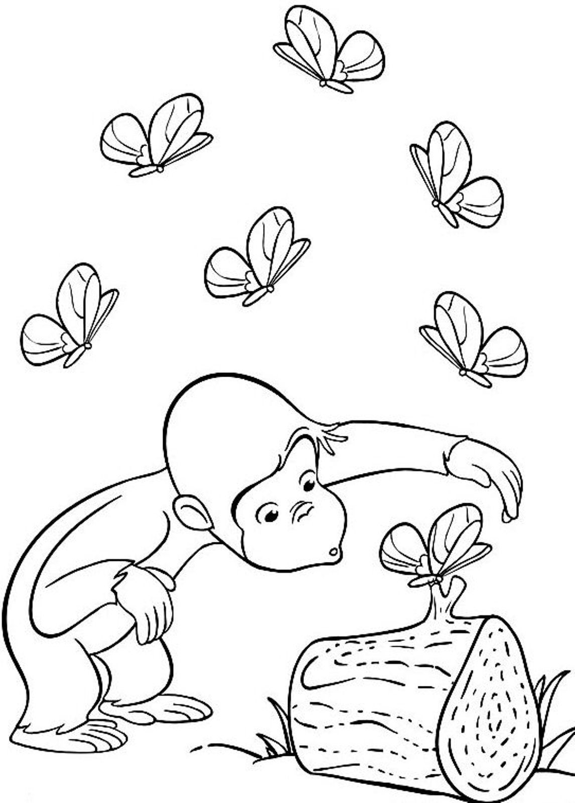 Coloring book curious george - Cartoon Coloring Butterflies And Curious George Coloring Pages Butterflies And Curious George Coloring Pagesfull