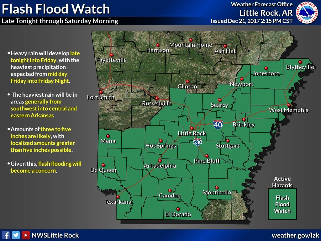 says Flash Flood Watch For Parts Of Central & Southern