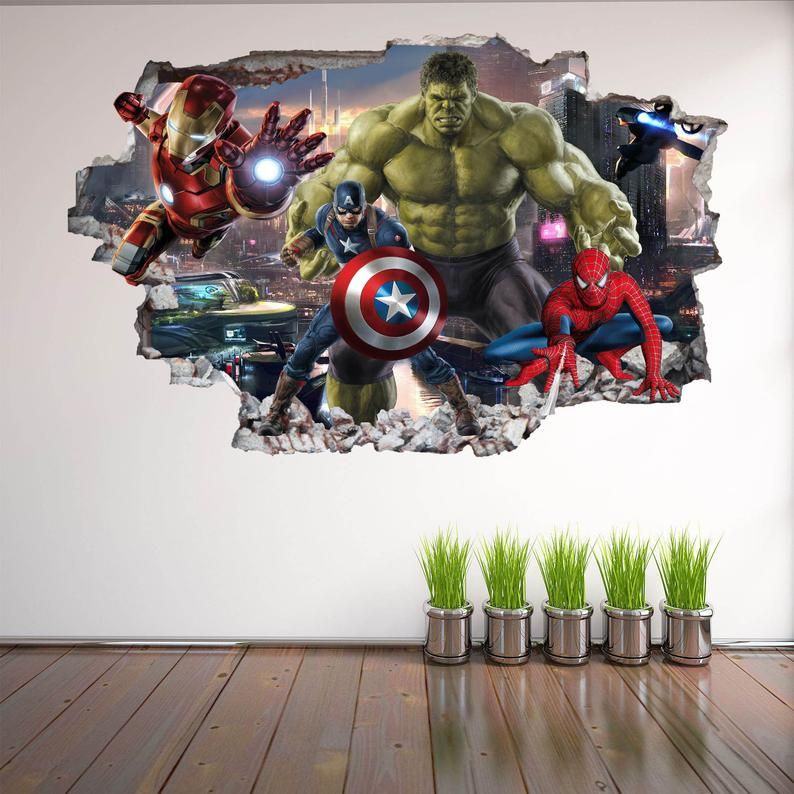 Avengers Superhero Wall Decal Sticker Mural Poster Print Art Etsy In 2020 Superhero Wall Decals Kids Room Decals Superhero Wall