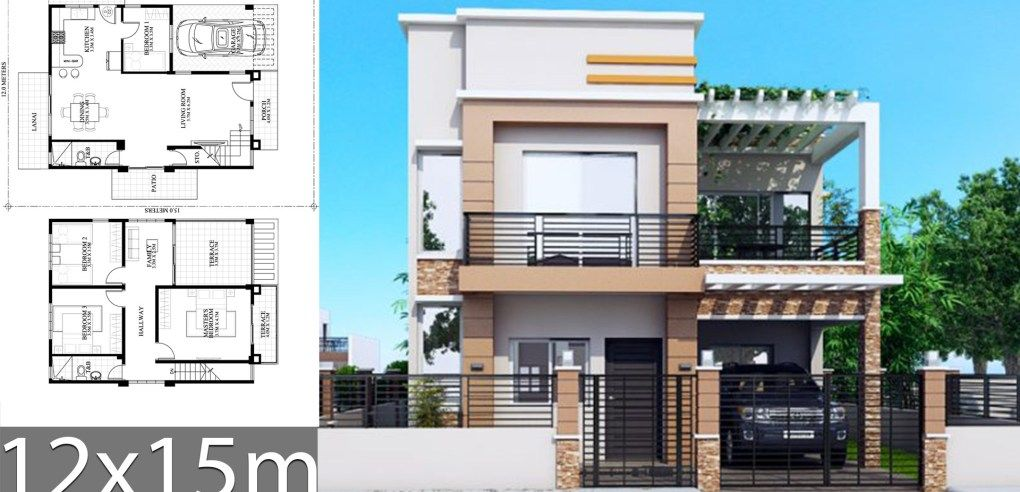 House Plans 12x15m With 4 Bedrooms With Images Duplex House Plans House Plans Family House Plans