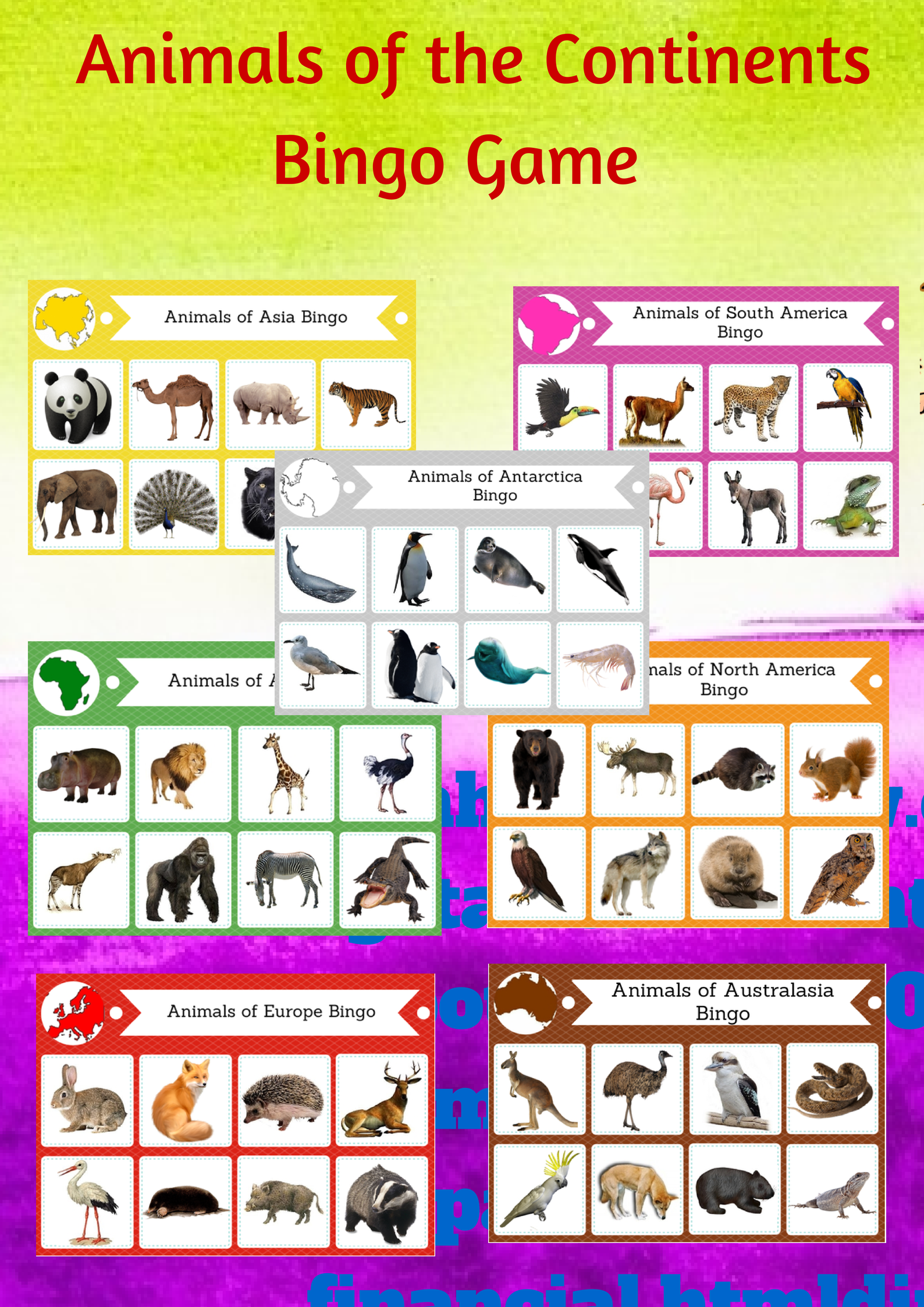 Animals Of The Continents Printable Bingo Game Montessori