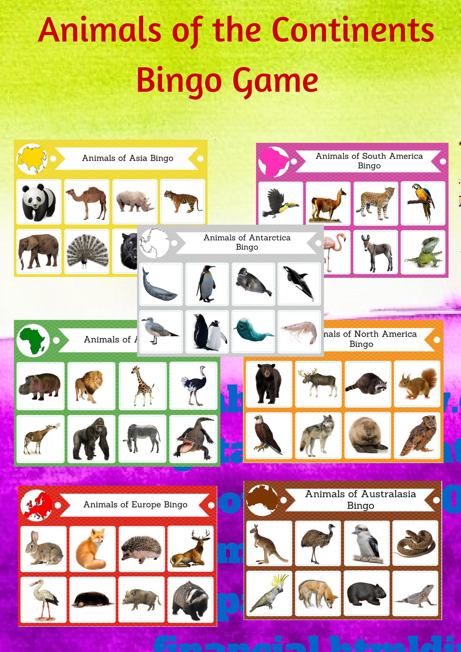Animals Of The Continents Printable Bingo Game Montessori