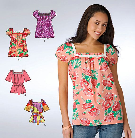 Misses PEASANT TOP Sewing Pattern - Plus Size Tunic Tops  Belt - 6 Sizes