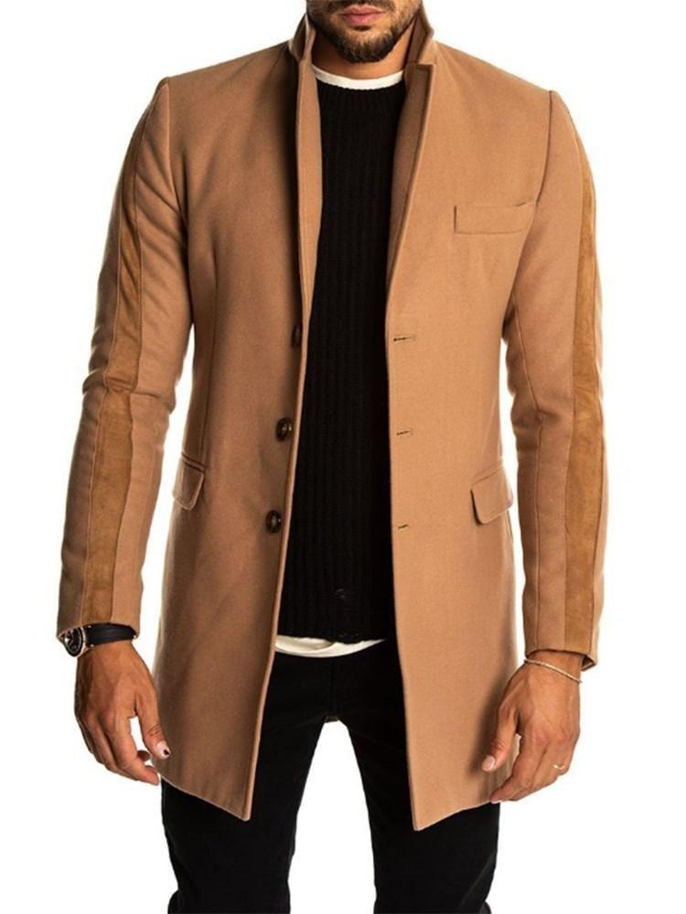df60a5e5 Plain Notched Lapel Mid-Length Winter Slim Coat | Men's Coats | Coat ...