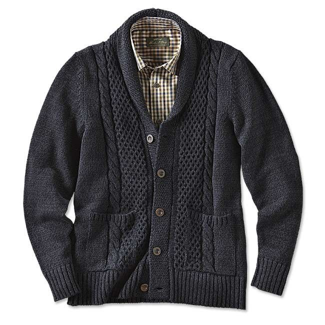 Just found this Cable-Knit Shawl Cardigan For Men - Black-and-Blue ...