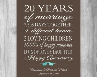 20th Anniversary 20 Year Gift Print Wedding Poster Important Stats Family Tree Marriage Art Modern